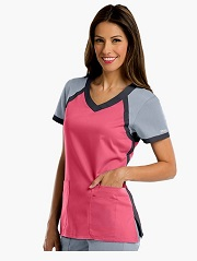 GA41435 Grey's Anatomy Active Color Block Crossover Scrub Top <br>FINAL SALE