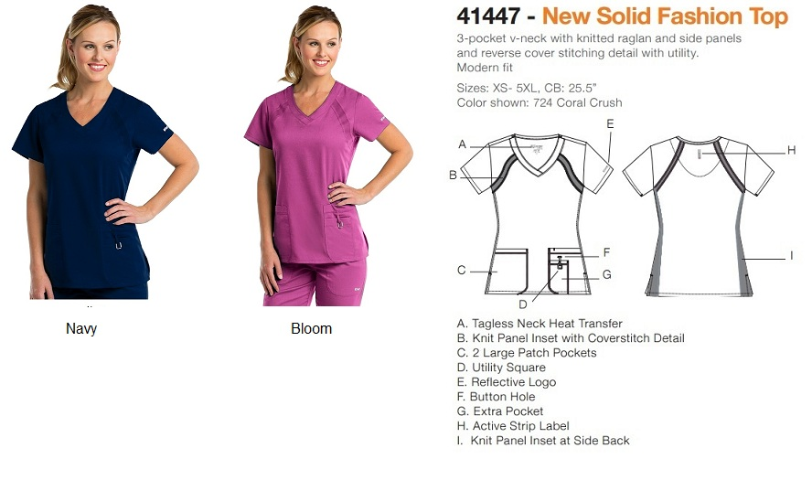 GA41447 Grey's Anatomy Knit Panel Inset Top <br>XS - 2X