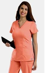 GA41452 Grey's Anatomy VNeck Top w/ Princess Seam  <br>XXS - 5XL