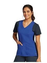 GA41465 Grey's Anatomy Color Block Scrub Top <BR>FINAL SALE