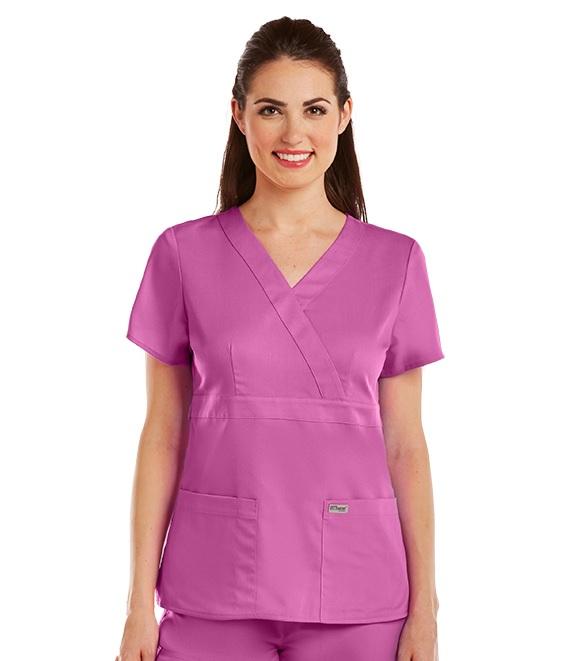 GA4153 Grey's Anatomy Mock Wrap Top <br>Soft   XXS - 5XL