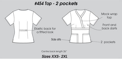 E454T Excel Mock Wrap Scrub Top Slim Fit  <br>(XXS - 2XL) *Stretch*