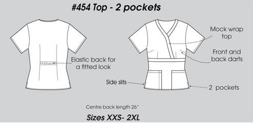 E454T Excel Mock Wrap Scrub Top Slim Fit  <br>(XXS - 2XL) *Stretch*