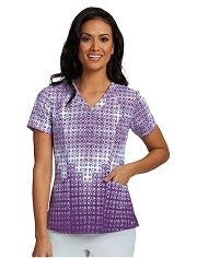 B5107-DET Barco One Scrub Top STRETCH Deco Tile Purple <br>FALL 2017 *FINAL SALE* * XS-5XL