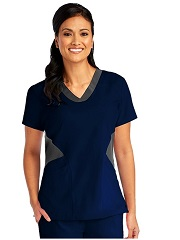 B5110 Barco One Scrub Top Contrast VNeck FINAL SALE (INDIGO NAVY/GREY 2XL-4XL)