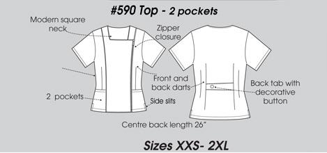 E590T Excel Square Neck Zipper Scrub Top <br>(XXS - 2XL) *Stretch*