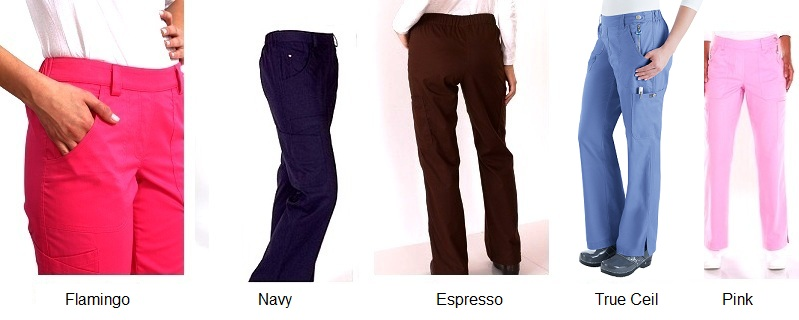 709 Koi Flat Front Slim Cut Sara Scrub Pants (Regular, Tall, Petite) - FINAL SALE