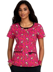 B100PR-CHP Koi Rose Scrub Top Cherry Heart Pow