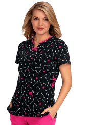 B107PR-ARW Koi Betsey Johnson Scrubs Cosmos Top Arrow