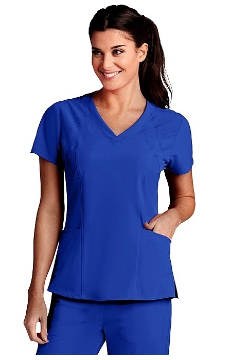 B5105 Barco One Women's V-Neck Perforated Shoulder Scrub Top <br>XXS-3X
