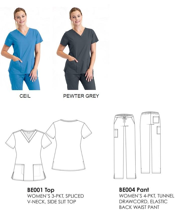 BE001 Barco Essentials Scrubs Women Top<br>STRETCH, DURABLE, HIGH TEMP WASH