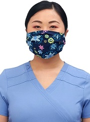 CK508-FLM1 Cherokee Reversible Pleated Mask <br>*2 PRINTS* Floral Med / Totally Pawsome <br>100% cotton