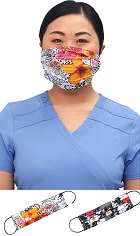 CK508-STF1 Cherokee Reversible Pleated Mask <br>*2 PRINTS* Sweet Flow/Leopard Jungle <br>100% cotton
