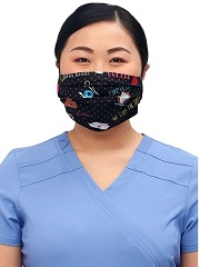 CK508-STF2 Cherokee Reversible Pleated Mask <br>*2 PRINT* Sweet Flow/We Stick Together <br>100% cotton