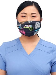 CK508-STF3 Cherokee Reversible Pleated Mask - PETS<br>*2 PRINTS* Sweet Flow/Purramedics <br>100% cotton