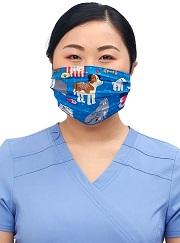 CK508-UNL1 Cherokee Reversible Pleated Mask -PETS <br>Unconditional Love/Peace <br>97% Cotton / 3% Spandex
