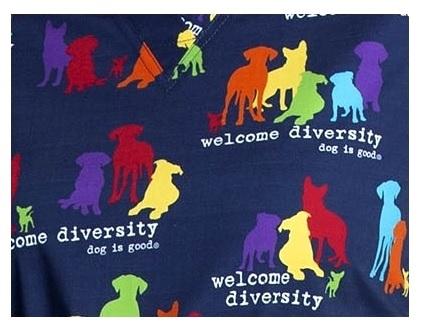 CK616-OGWD Cherokee V-Neck Print Top in Welcome Diversity DOG IS GOOD
