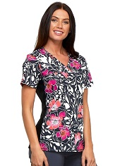 CK624-FIMY Cherokee Flexibles V-Neck Knit Panel Top <br>SMALL - FINAL SALE