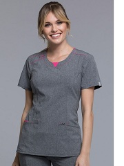 CK710A-HTGR Cherokee  Round Neck Top <br> *Certainty Antimicrobial Stretch*