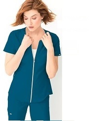 CK875 Cherokee Statement Zip Front Scrub Top