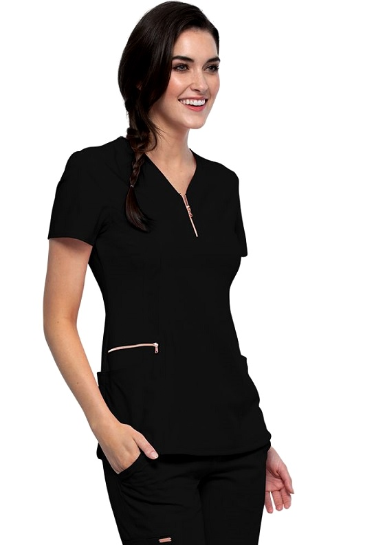CK876 Cherokee Statement Y-Neck Zip Front Scrub Top