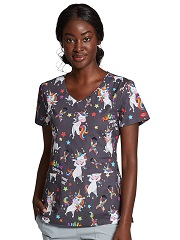 DK700-ABET Dickies V-Neck Print Top in A Different Beat (Autism Awareness)