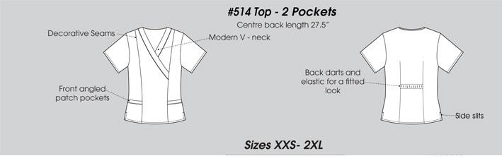 E514T Excel Scrub Top Slim Fit  (XXS - 2XL) *Stretch - FINAL SALE*