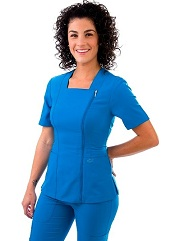 E590T Excel Square Neck Zipper Scrub Top <br>(XXS - 2XL) *Stretch*