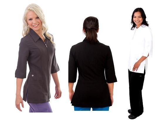 E835J Excel  Two-Ways Zipper Spa Uniform <br>(XXS - 2XL) *Stretch*