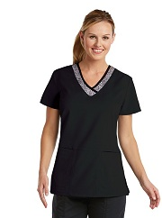 GA41451-SPB Grey's Anatomy Black Speckle Scrub Top *FINAL SALE*