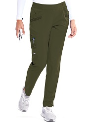 GIP507 Grey's Anatomy Impact Moto Pintucks Pants Stretch <br>Olive