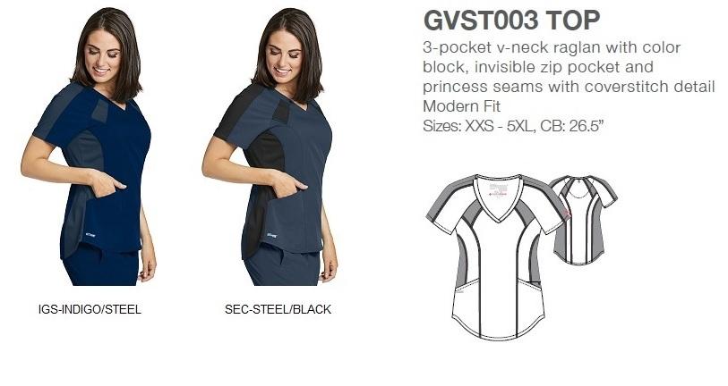 GVST003 Grey's Anatomy  Top Color Block *STRETCH*