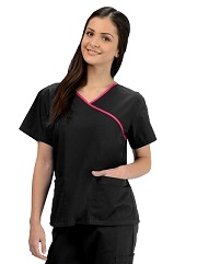KW111T Klik Fits Saigon Crossover VNeck Scrub Top XXS - 3XL <br>WITH CONTRAST TRIM