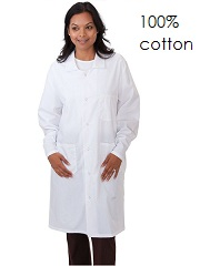 L714 Pro Unisex Full Length Lab Coat <br> 100% cotton <br> (XXS to 2XL)