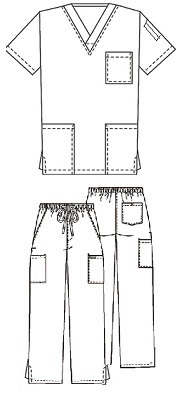 D001 Scrub Unisex Set (Top+Pants) <br>65% Poly / 35% Cotton <br>XS-2XL <BR>FINAL SALE *BLACK*