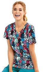 SKT021-BFRN Skecher Print Scrub Top Best Friends (Dogs) L, 2XL, 4XL