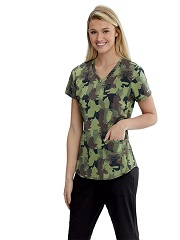 SKT021-CMCA Skecher Print Scrub Top Camouflage Cats - SMALL
