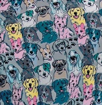 SKT021-HPDG Skecher Print Scrub Top Happy Dogs - LARGE