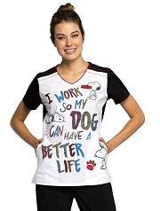 TF608-PNET Cherokee Print Top DOG Better Life <br> XS,S,M - FINAL SALE
