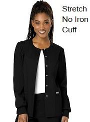 WW310 Cherokee Women Snap Front Jacket <br> No Ironing, No Shrink, Spandex, Cuff, Soft <br>XXS - 3XL