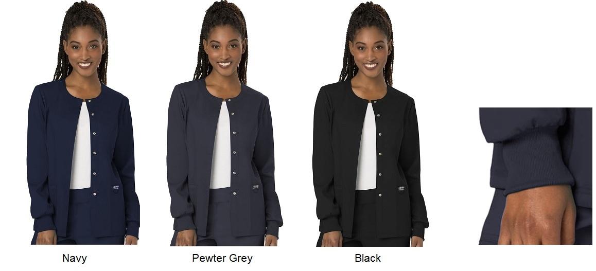 WW310 Cherokee Women Snap Front Jacket <br> No Ironing, No Shrink, Spandex, Cuff, Soft <br>XXS - 5XL