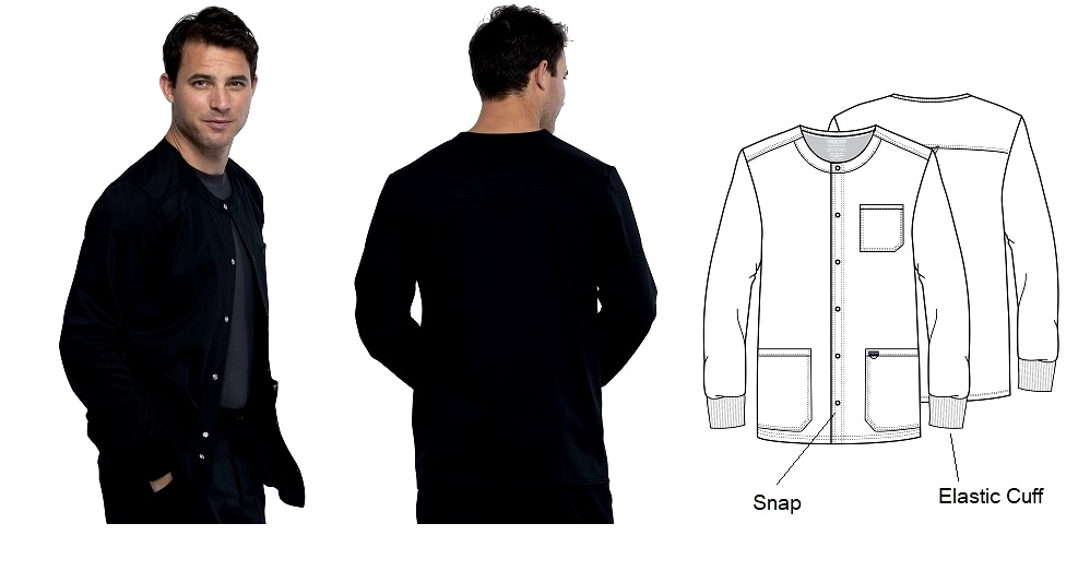 WW380 Cherokee Men Snap Front Jacket <br> No Ironing, No Shrink, Spandex, Cuff, Soft <br>S - 5XL