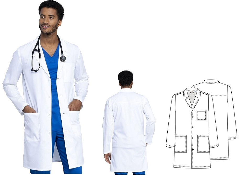 "WW410AB Cherokee Men's 40"" Lab Coat Stretch<br> Antimicrobial Fluid Barrier (XS -to 5XL)"