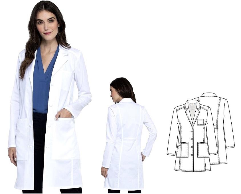 """WW420AB Cherokee Women's 36"""" Lab Coat Stretch <br> Antimicrobial Fluid Barrier (XXS -to 5XL)"""