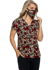 B117PR-BCF Koi Betsey Johnson Calla Top Floral Cheetah <br>FINAL SALE
